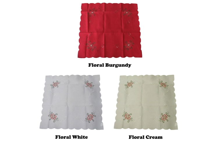 Christmas Tablecloth Topper Red Floral