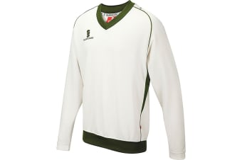 Surridge Boys Junior Fleece Lined Sweater Sports / Cricket (White/ Green trim)