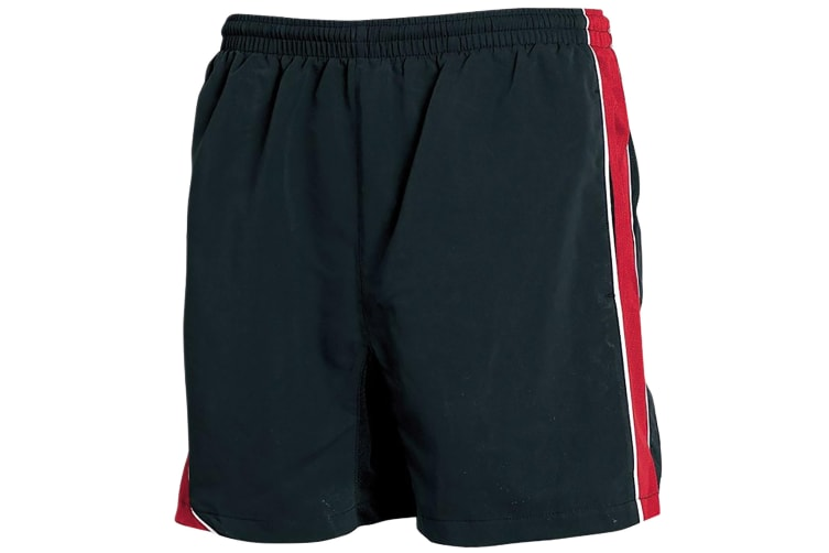 Tombo Teamsport Mens Lined Performance Sports Shorts (Black/Red/ White Piping) (L)