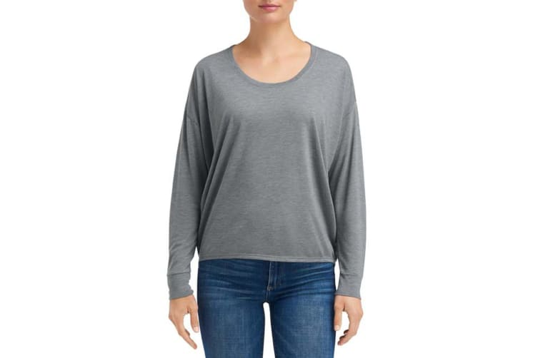 Anvil Womens/Ladies Freedom Long-Sleeve Tee (Heather Graphite) (L)