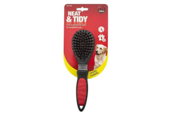 Mikki Porcupine Dog Grooming Brush For Double/Thick Coats (Black)