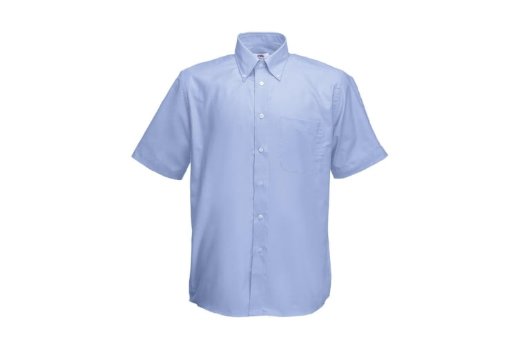 Fruit Of The Loom Mens Short Sleeve Oxford Shirt (Oxford Blue) (3XL)