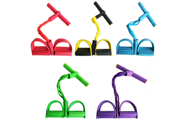 Pedal Resistance Band With Handle Elastic Pull Rope Foot Pedal Expander For Slimming Training Yellow