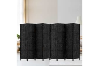 Artiss 8 Panel Room Divider Screen Dividers Privacy Rattan Wooden Stand Black