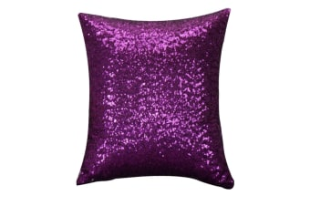 Decorative Glitzy Sequin & Comfy Satin Solid Throw Pillow Covers 18 Inch Square Pillow Case Purple