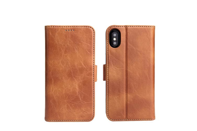 For iPhone XS X Wallet Case Fierre Shann Elegant Detachable Leather Cover Brown