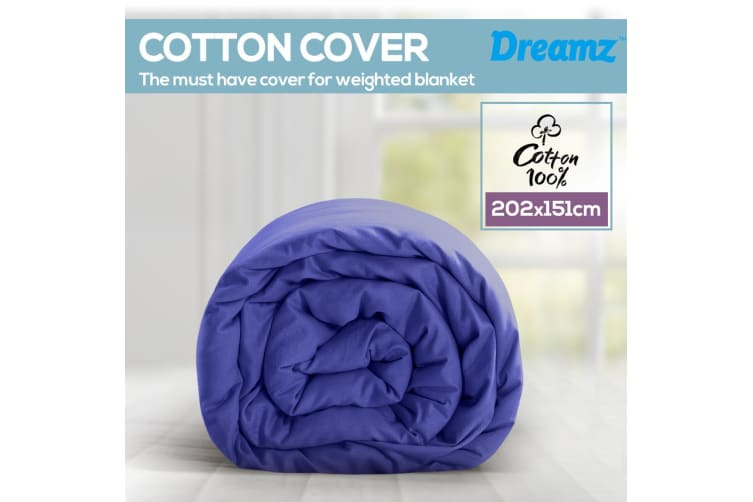 Dreamz 202X151CM Blue Cotton Zipper Weighted Blanket Cover Washable Protector