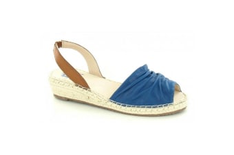 Flowers Womens/Ladies Ruched Style Wedge Sandals (Navy)