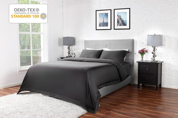 Ovela 400TC Cotton Rich Luxury Quilt Cover Set (King, Charcoal)