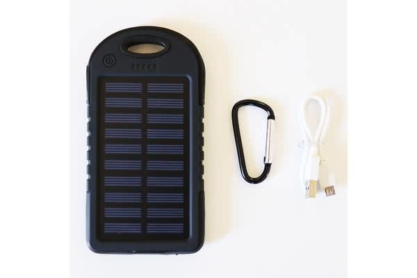 5000mAh Waterproof Solar Powered Portable Charger BLACK