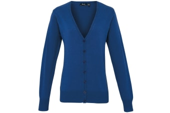 Premier Womens/Ladies Button Through Long Sleeve V-neck Knitted Cardigan (Royal) (16)