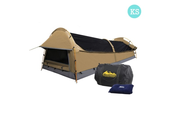 King Single Camping Swag Tent with Air Pillow (Beige)