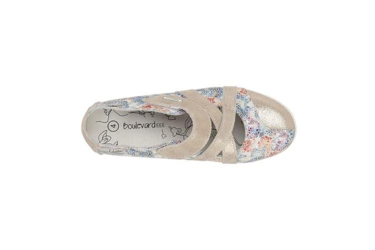 Boulevard Ladies/Womens Touch Fastening EEE Fit Bar Shoes (Grey/Multi Floral) (7 UK)