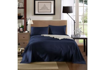 Kensington 1200 Thread Count 100% Egyptian Cotton Sheet Set Stripe Hotel Grade - Single - Navy