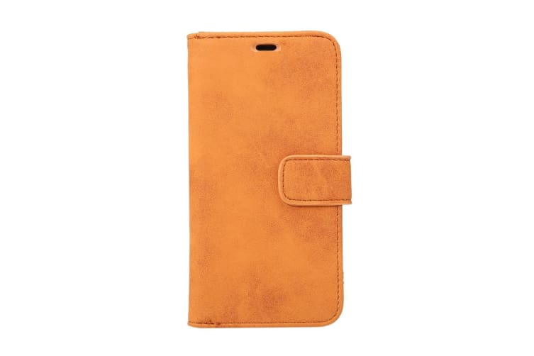 For iPhone XS X Wallet Case Elegant Sheep Texture Protective Leather Cover Brown