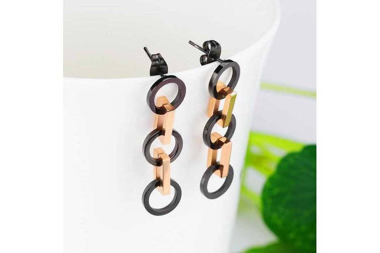 Modern Geometric Style Drop Earrings Rectangles & Circles-Rose Gold/Black