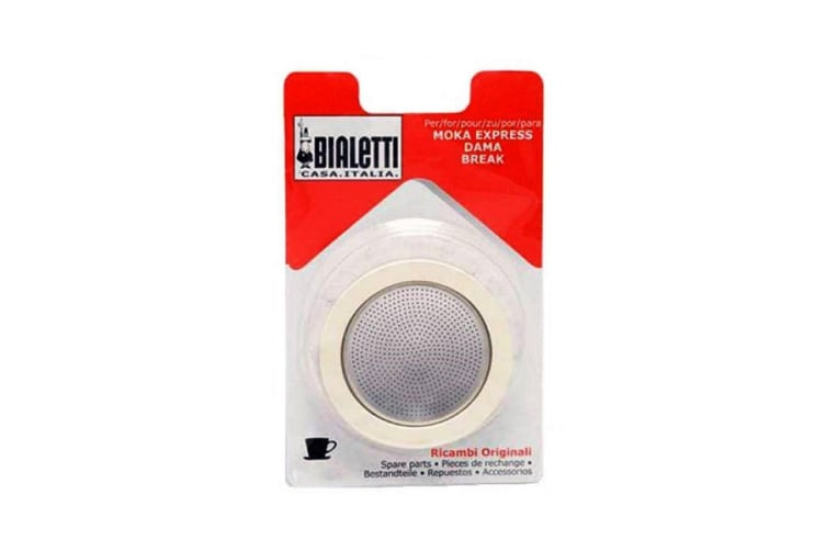 Bialetti Silicone Ring Gasket + Filter Plate For Aluminium Coffee Percolator-1 Cup