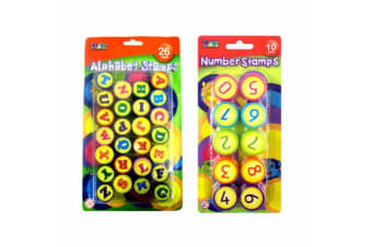 Kids Number & Alphabet Stamps Capital Letters Set Ink Stamp Children Craft Art