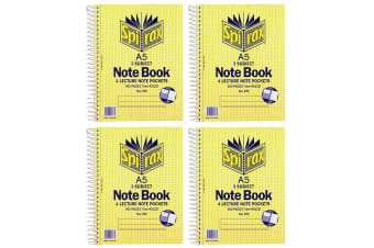4x Spirax No.572 A5 3 Subject School/Uni 300 Pages Notebook 21cm w/ Note Pockets