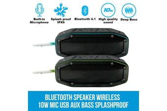 Elinz Bluetooth Speaker Wireless 10W Portable MIC USB AUX Bass Splashproof Outdoor GREEN