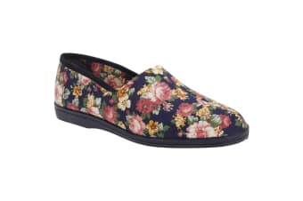 Sleepers Womens/Ladies Rose Roll Top Floral Cotton Slippers (Navy Blue Floral)