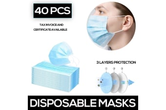 40Pcs Disposable Face Mask Protective Masks 3 layer Invoice and Certification Available