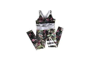 2 Pieces Floral Print Tracksuit Yoga Legging Crop Top Suit For Mother And Daughter - 5 Xl