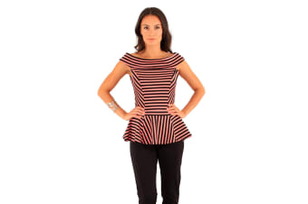 Lili London Womens/Ladies Spirit Striped Bardot Peplum Top (Black/Coral)