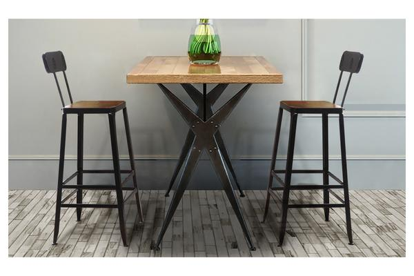 2x Vintage Industry Rustic Bar Stool With High Back