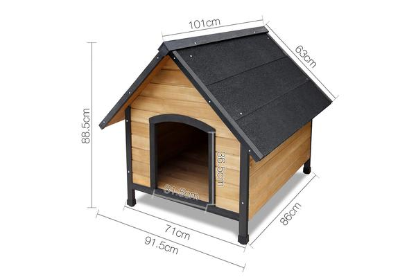 i.Pet Dog House Kennel Pet Timber Wooden Log Cabin Outdoor Puppy Cage X Large