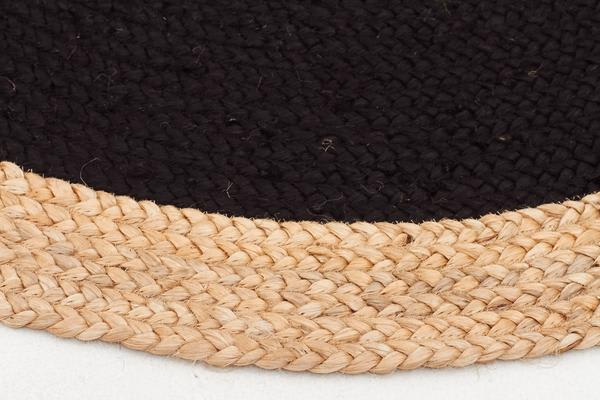 Round Jute Natural Rug Black 150x150cm