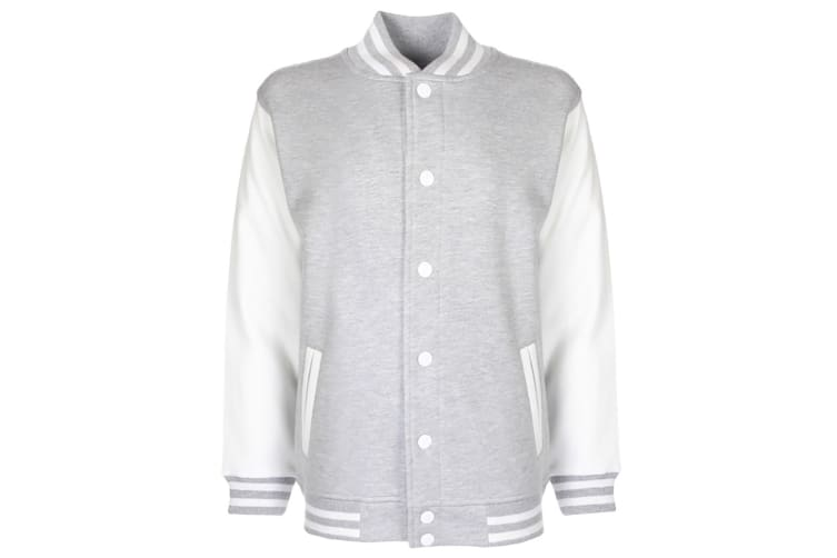 FDM Junior/Childrens Unisex Varsity Jacket (Contrast Sleeves) (Heather Grey/White) (9-10 years)
