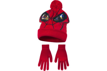 Marvel Ultimate Spider-Man Childrens Boys Mask Winter Hat And Gloves Set (Red)