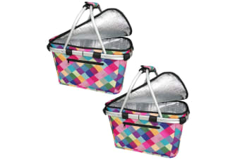2x Sachi Collapsible Foldable Insulated Picnic Shopping Basket w  Lid Harlequin