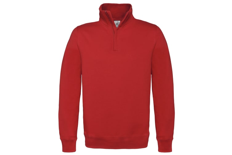 B&C Mens ID.004 1/4 Zip Sweatshirt (Red) (3XL)