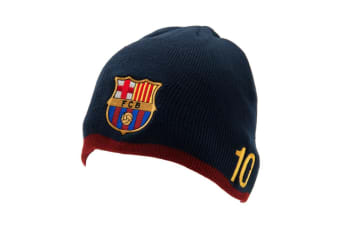 FC Barcelona Unisex Adults Messi Knitted Hat (Navy) (One Size)