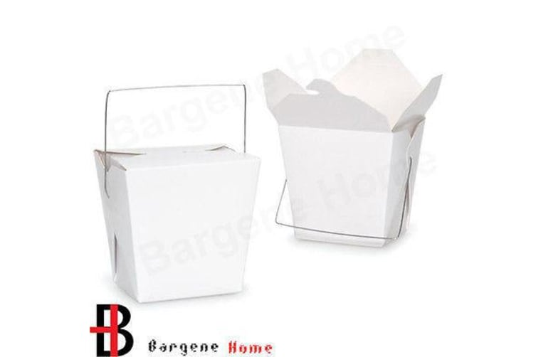 Bulk Packs 150  x 455ML/16oz White Noodle Box With Metal Wire Handle
