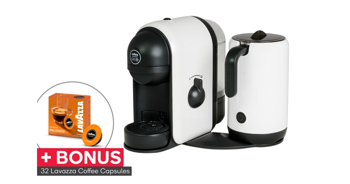 dick smith lavazza minu caffe latte coffee capsule machine with milk frother 32 bonus. Black Bedroom Furniture Sets. Home Design Ideas