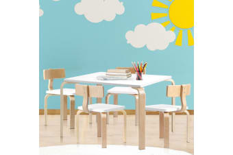 Artiss 5PCS Childrens Table and Chairs Set Kids Furniture Toy Dining White Desk