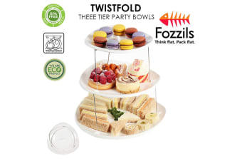 Fozzils Twistfold Three Tier Party Bowls Plates Cake Snacks Container