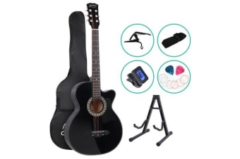 ALPHA 38 Inch Wooden Acoustic Guitar Classical Folk Full Size Black Capo Tuner