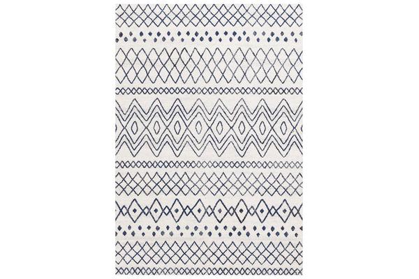 Amelia Bone Ivory & Blue Scandi Durable Rug 400x300cm