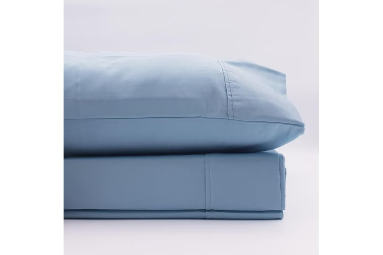 Renee Taylor 1500 Thread Count Pure Soft Cotton Blend Flat & Fitted Sheet Set - King - Indigo