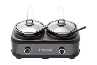 Westinghouse Stainless Steel 2 X 2.5L Pot Slow Cooker - Black