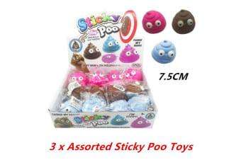 3 x Emoji Sticky Poo Novelty Toy Soft Mouldable Emoticon Squeeze Stress Throw