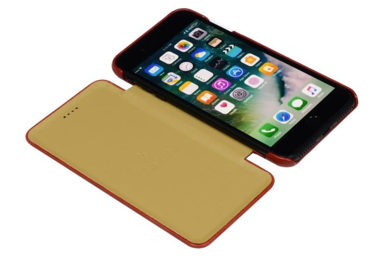 For iPhone 8 PLUS 7 PLUS Case FS Genuine Durable Leather Flip Cover Red