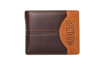 Mens Genuine Leather Patchwork Trifold Wallet Letter