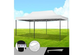 3X6M White Pop Up Folding Gazebo Outdoor Marquee Party Canopy
