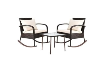Gardeon 3 Piece Outdoor Rocking Set (Brown)