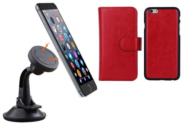 TODO Magnetic Quick Snap Car Suction Mount Leather Credit Card Case Iphone 6 - Red
